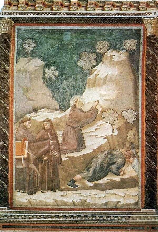 Святой Франциск источает воду из скалы   Джотто ди Бондоне