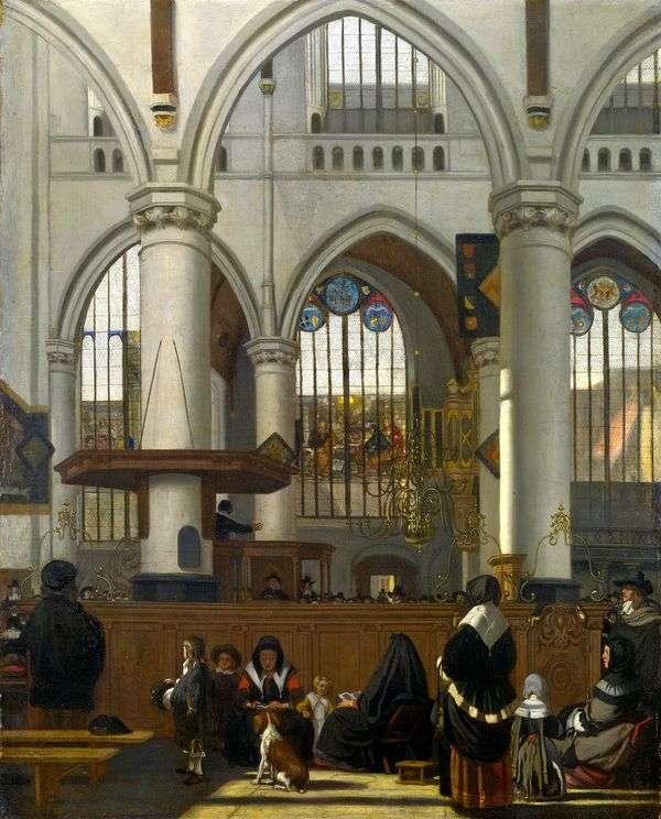 Интерьер Старой церкви в Амстердаме во время службы   Эманюэл де Витте