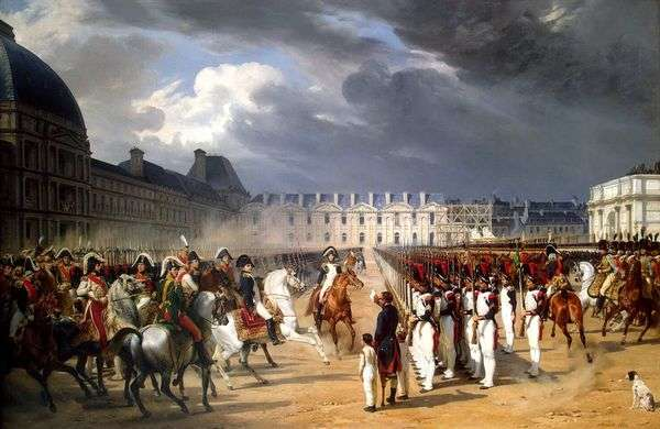 Инвалид, подающий прошение Наполеону на параде гвардии перед дворцом Тюильри в Париже   Орас Верне