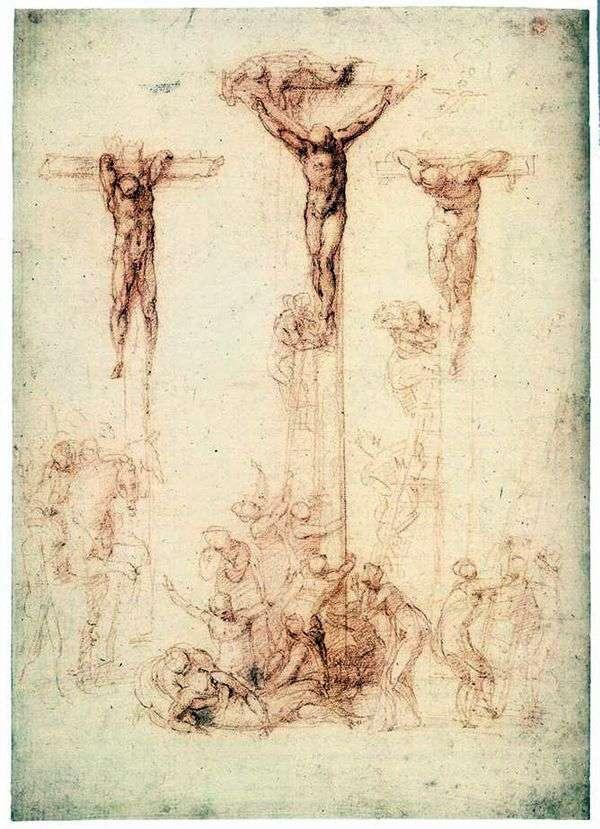 Этюд с тремя крестами   Микеланджело Буонарроти
