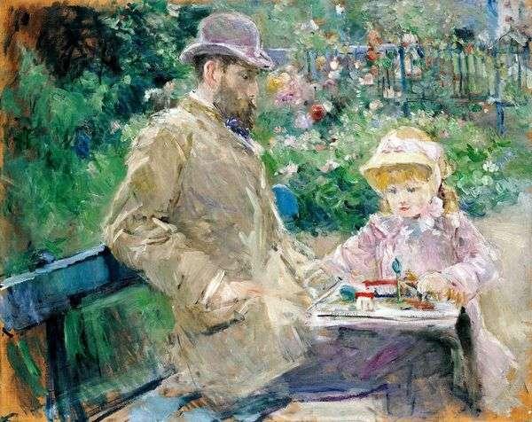 Эжен Мане с дочерью в Буживале   Берта Моризо