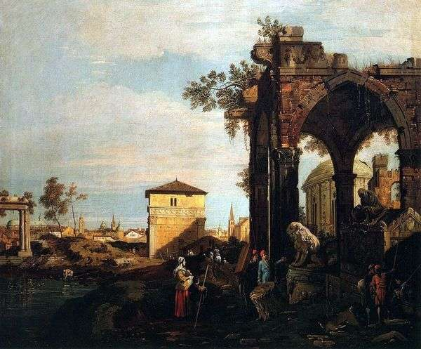 Каприччо с руинами и воротами Портелло в Падуе   Антонио Каналетто