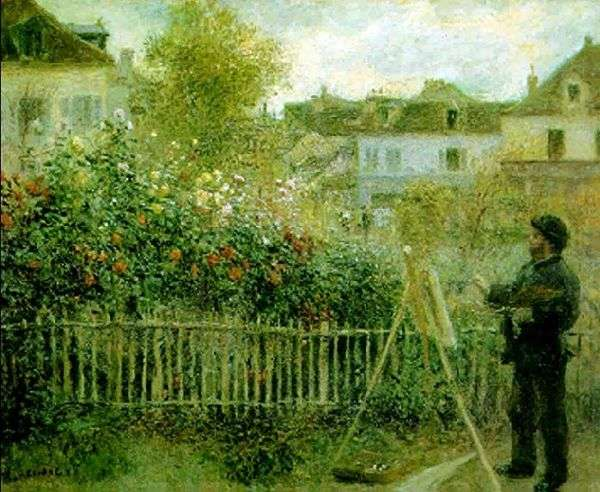 Клод Моне, работающий в своем саду   Пьер Огюст Ренуар