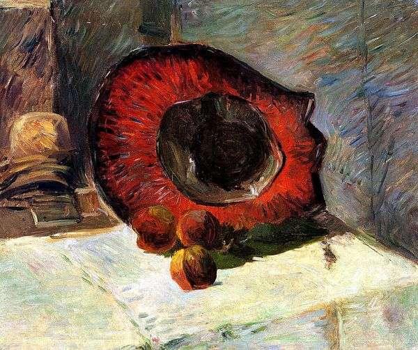 Красная шляпа и фрукты   Поль Гоген