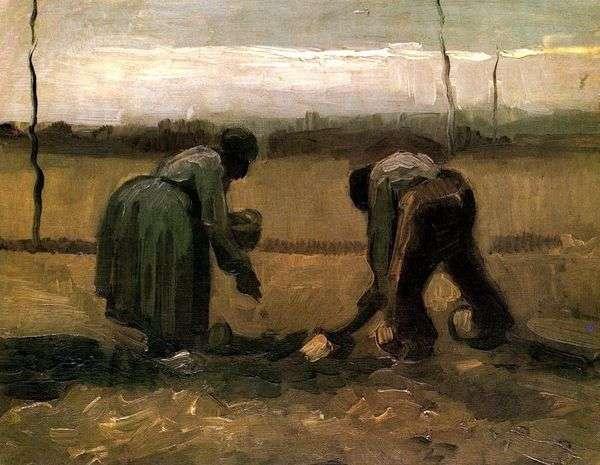 Крестьянин и крестьянка сажающие картофель   Винсент Ван Гог