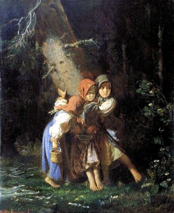 Крестьянские девочки в лесу   Алексей Корзухин