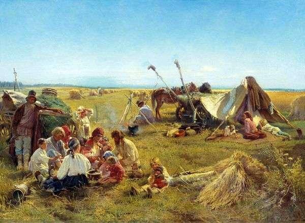 Крестьянский обед во время жатвы   Константин Маковский