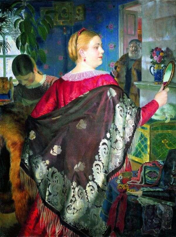 Купчиха с зеркалом   Борис Кустодиев