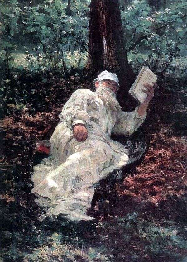 Л. Н. Толстой на отдыхе в лесу   Илья Репин