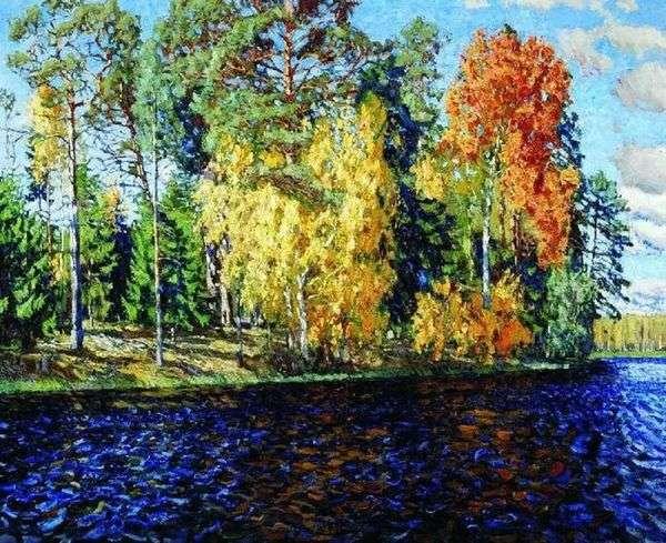 Лесное озеро. Золотая осень (Синяя вода)   Станислав Жуковский