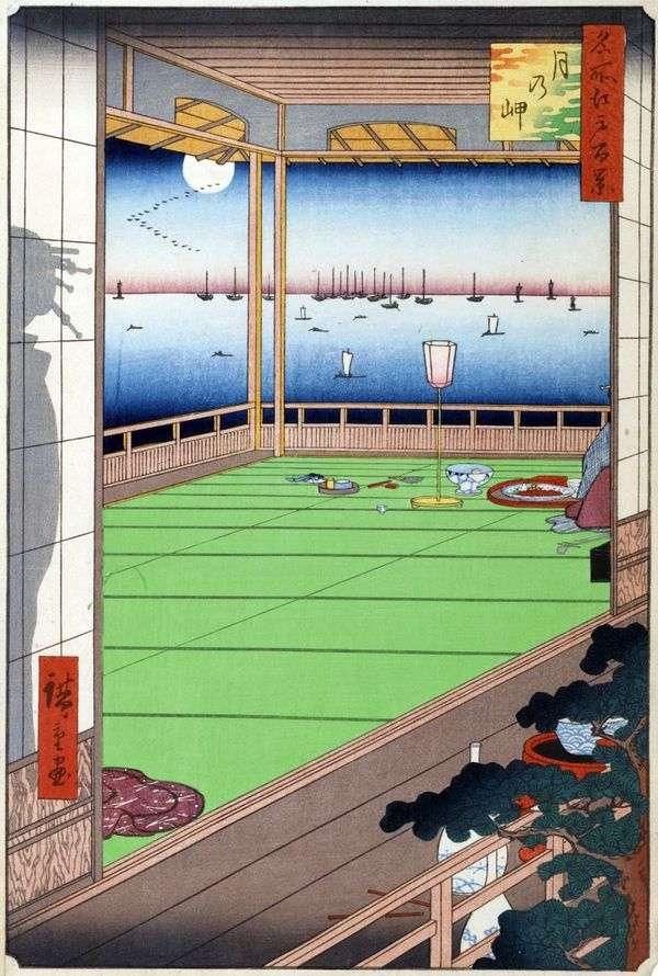 Луна над мысом   Утагава Хиросигэ