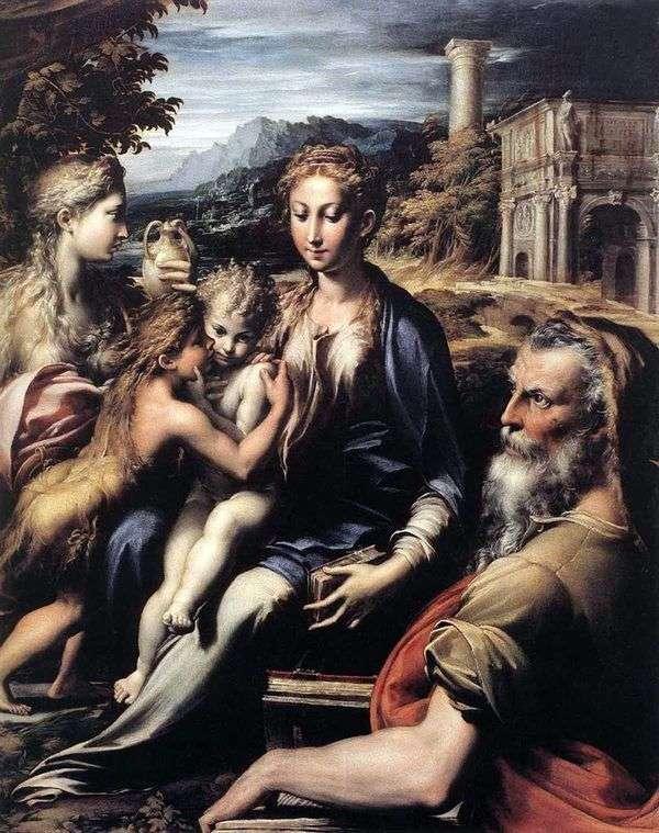 Мадонна на троне, Захария, Иоанн Креститель и Мария Магдалина   Франческо Пармиджанино