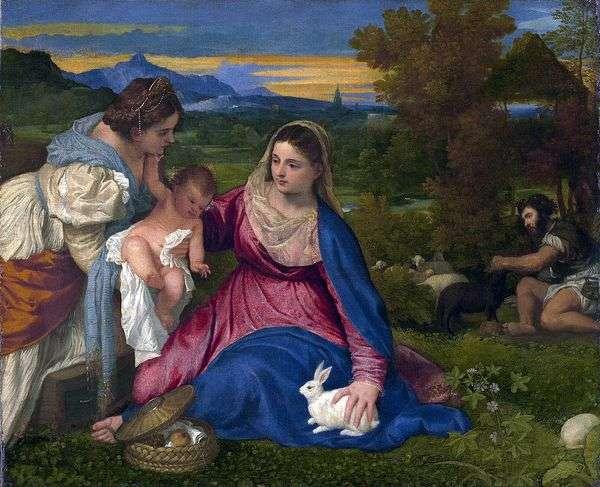 Мадонна с младенцем со Св. Екатериной и кроликом   Тициан Вечеллио