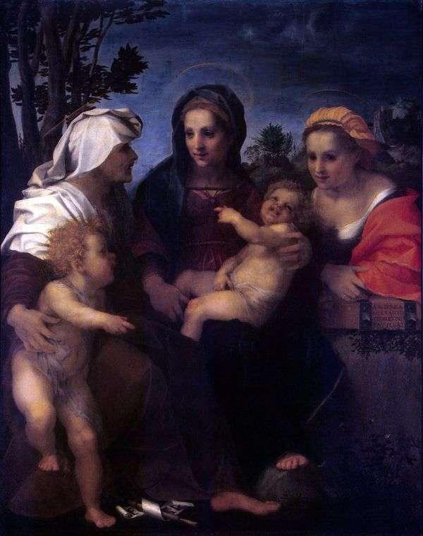 Мадонна с Младенцем, святыми Екатериной, Елизаветой и Иоанном Крестителем   Андреа дель Сарто