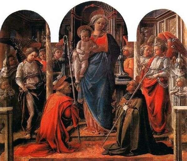 Мадонна с Младенцем в окружении ангелов, со святыми Фредиано и Августином   Филиппо Липпи