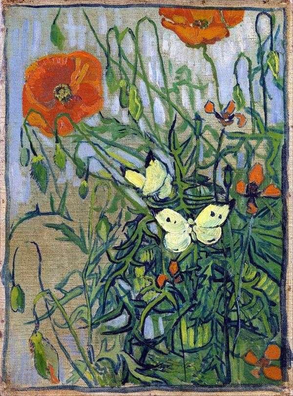 Маки и бабочки   Винсент Ван Гог