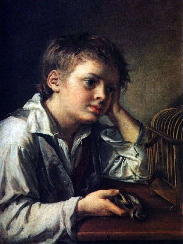 Мальчик, тоскующий об умершей птичке   Василий Тропинин