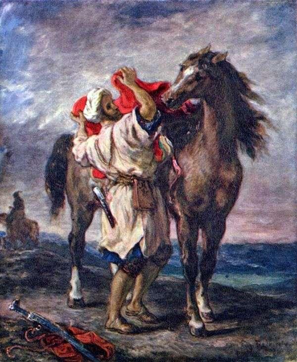 Марокканец, седлающий коня   Эжен Делакруа