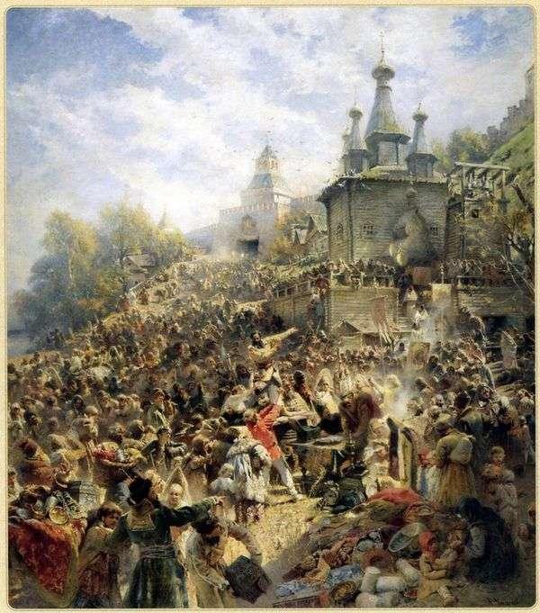 Минин на площади Нижнего Новгорода, призывающий народ к пожертвованиям   Владимир Маковский