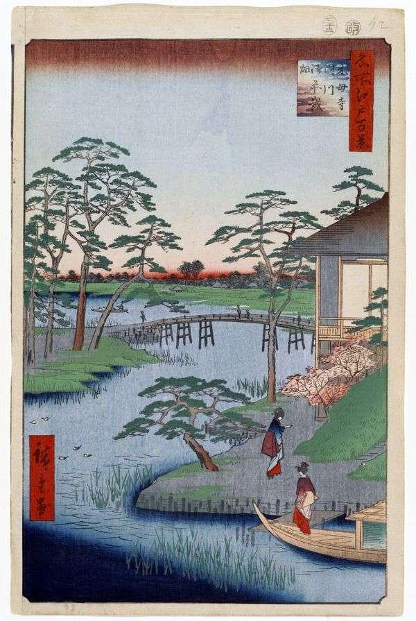 Монастырь Мокубодзи, река Утигава и поля Годзэнсаихата   Утагава Хиросигэ