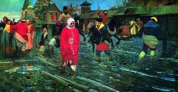 Московская улица 17 го века в праздничный день   Андрей Рябушкин
