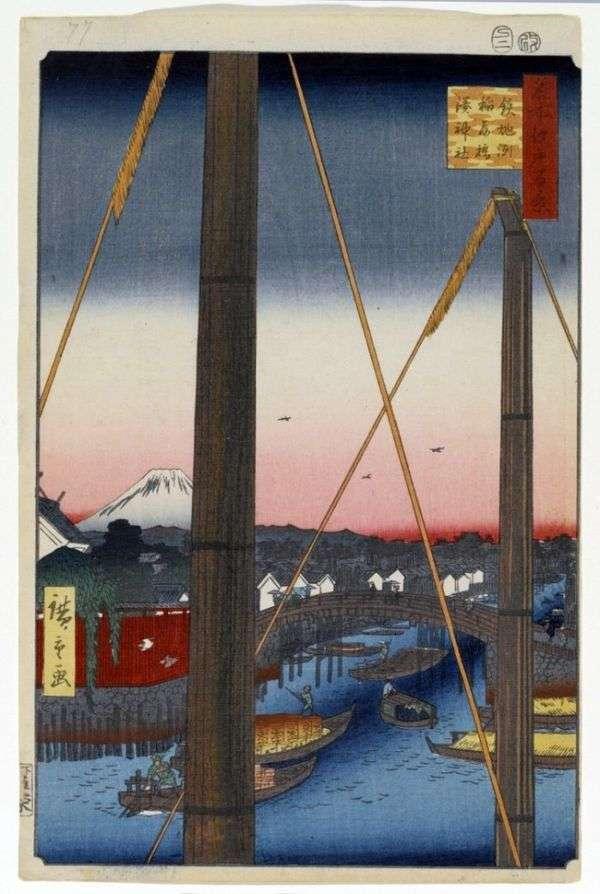Мост Инари баси в Тэпподзу, святилище Минато дзиндзя   Утагава Хиросигэ