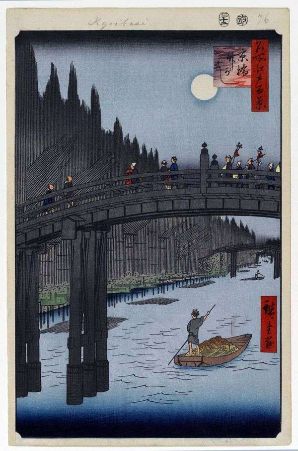 Мост Кебаси и набережная Такэгаси   Утагава Хиросигэ