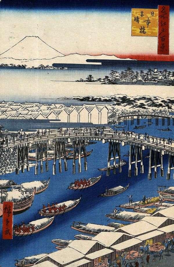 Мост Нихонбаси в ясную погоду после снегопада   Утагава Хиросигэ