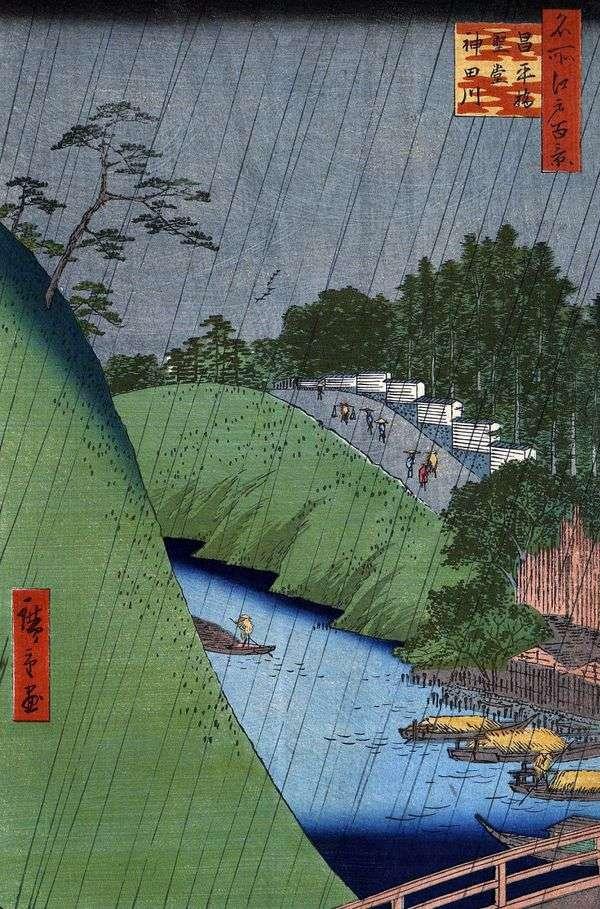 Мост Сехэйбаси, Храм Конфуция и река Кандагава   Утагава Хиросигэ