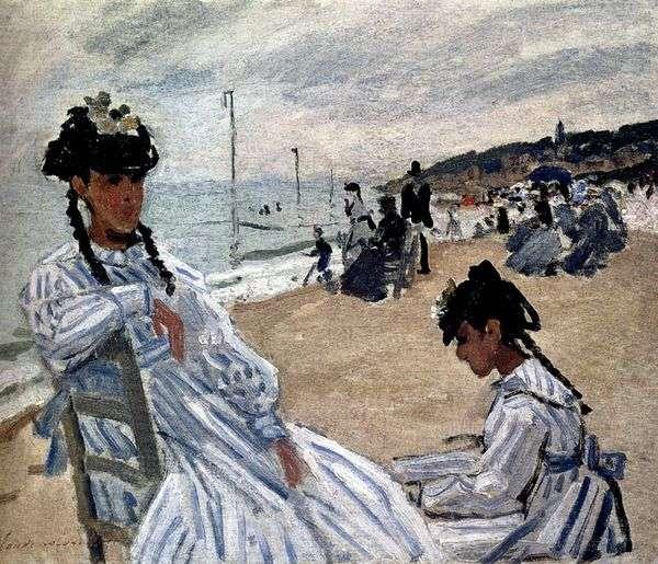 На пляже в Трувиле   Клод Моне
