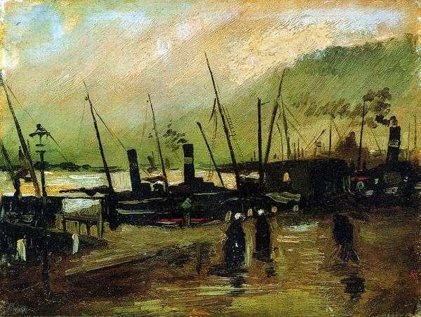 Набережная с кораблями в Антверпене   Винсент Ван Гог