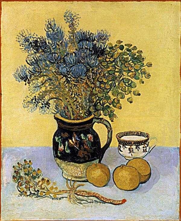 Натюрморт: кувшин в стиле Майолика с полевыми цветами   Винсент Ван Гог