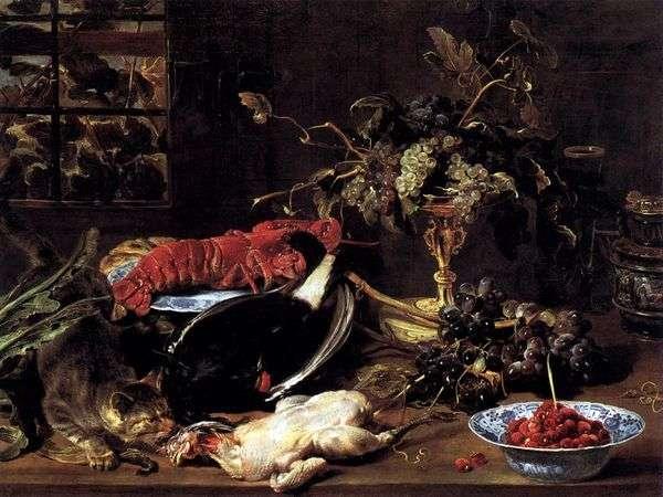Натюрморт с голодной кошкой, омаром и фруктами   Франс Снейдерс