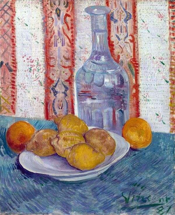 Натюрморт с графином и лимонами на тарелке   Винсент Ван Гог