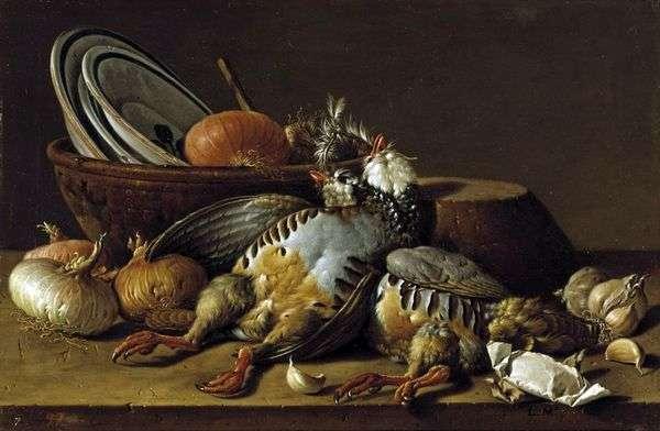 Натюрморт с куропатками и посудой   Луис Мелендес