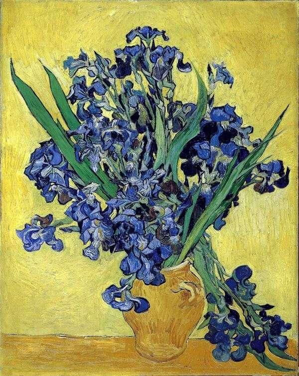 Натюрморт: ваза с ирисами на желтом фоне   Винсент Ван Гог