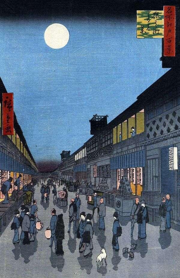Ночной вид на квартал Сарувака мати   Утагава Хиросигэ