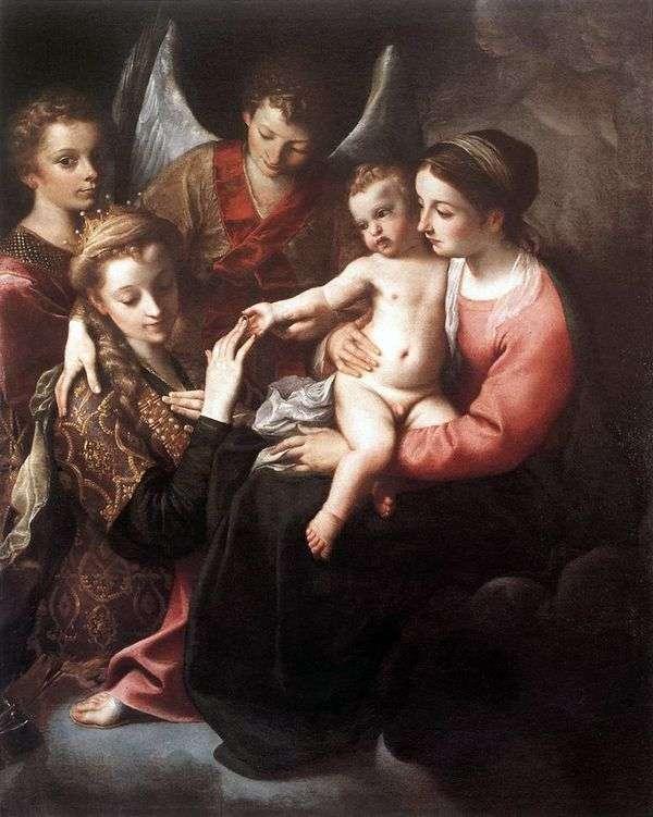 Обручение святой Екатерины   Аннибале Карраччи