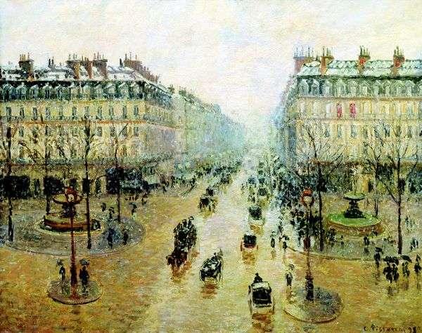 Оперный проезд в Париже. Эффект снега. Утро   Камиль Писсарро