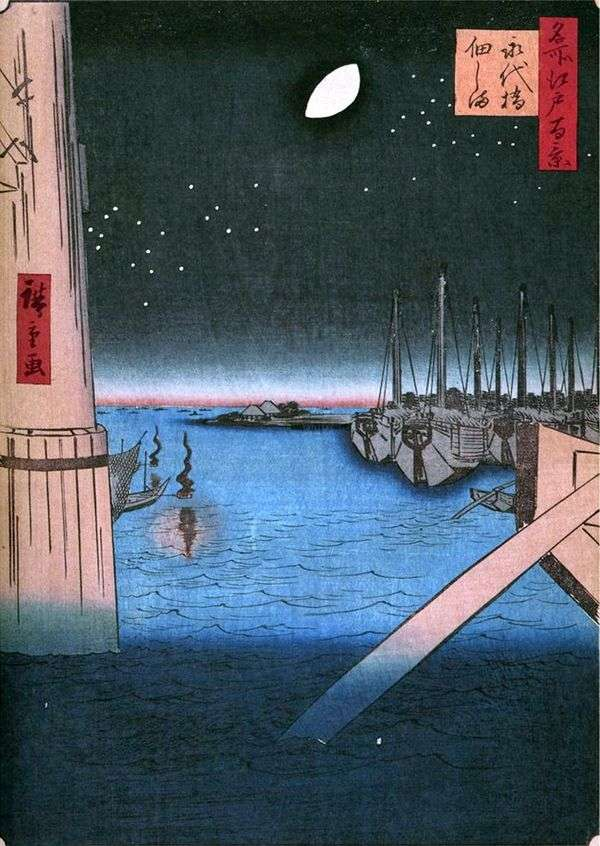 Остров Цукудадзима от моста Эитайбаси   Утагава Хиросигэ
