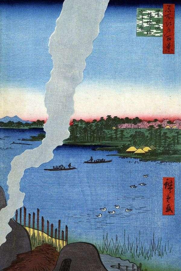 Печи для обжига у переправы Хасиба но ватаси на реке Сумидагава   Утагава Хиросигэ