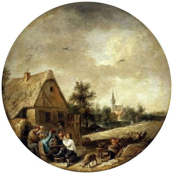 Пейзаж с деревенским кабачком   Давид Тенирс