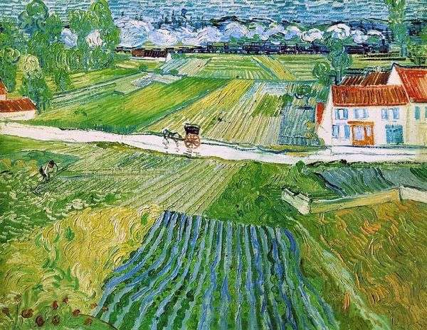 Пейзаж с экипажем и поездом на заднем плане (Пейзаж в Овере после дождя)   Винсент Ван Гог