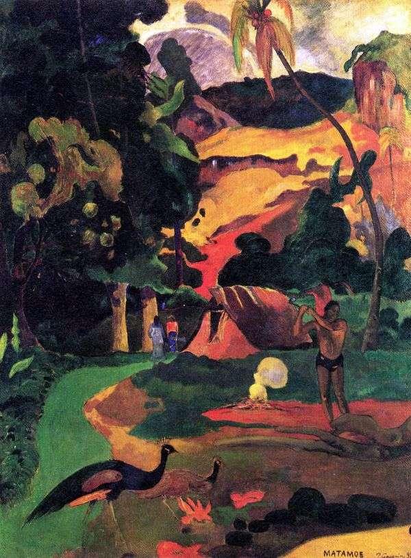 Пейзаж с павлинами   Поль Гоген