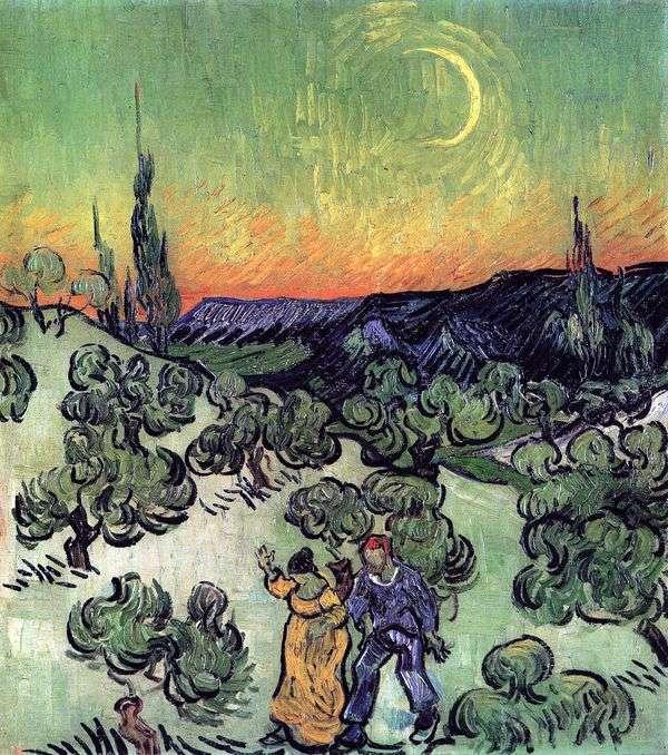 Пейзаж с прогуливающейся парой и серпом луны   Винсент Ван Гог