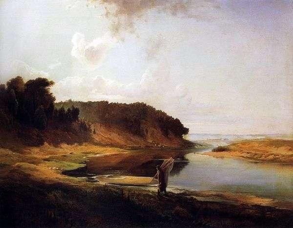 Пейзаж с рекой и рыбаком   Алексей Саврасов