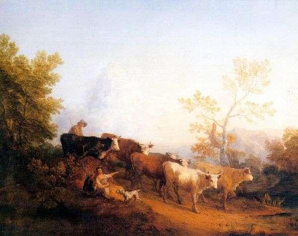 Пейзаж с возвращающимся стадом   Томас Гейнсборо