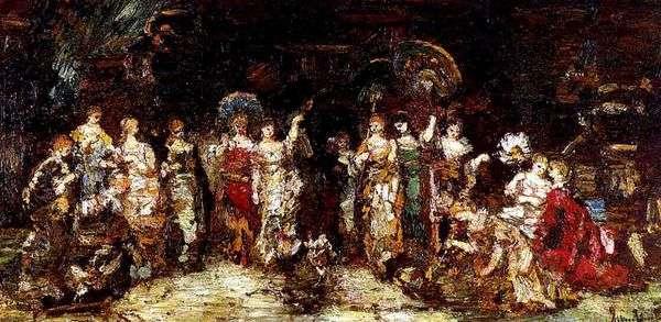 Петушиные бои перед группой молодых женщин   Адольф Монтичелли
