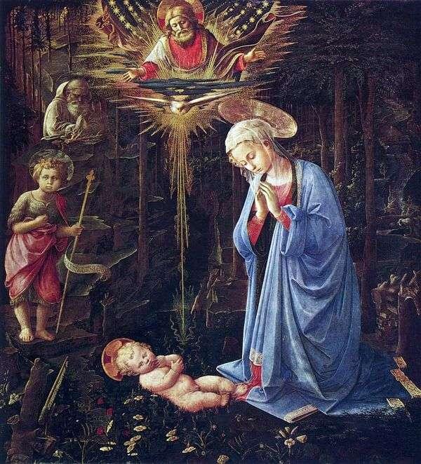 Поклонение со святым Бернардом и младенцем Иоанном Крестителем   Фра Филиппе