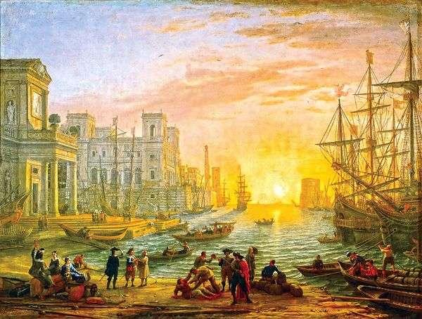 Морская гавань при заходе солнца   Клод Лоррен